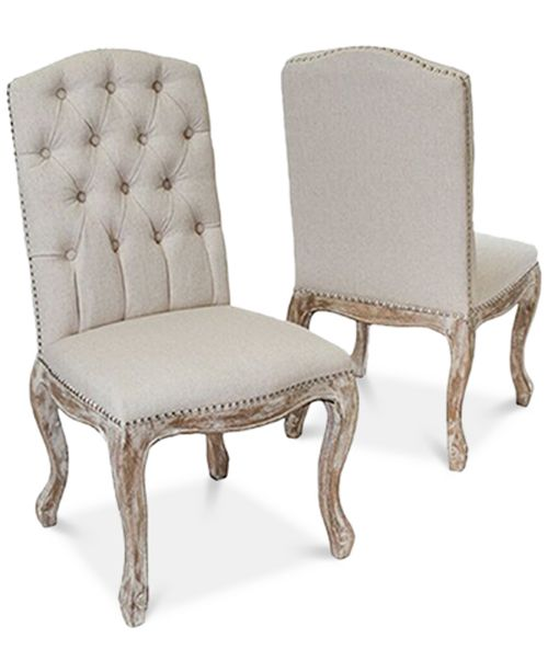 Noble House Palen Tufted Hardwood Dining Chairs, Set of 2