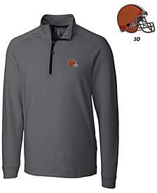 Cutter & Buck Men's Cleveland Browns 3D Emblem Jackson Overknit Quarter-Zip Pullover