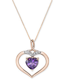 Amethyst (1-3/4 ct. t.w.) and Diamond Accent Pendant Necklace in 14k Rose Gold