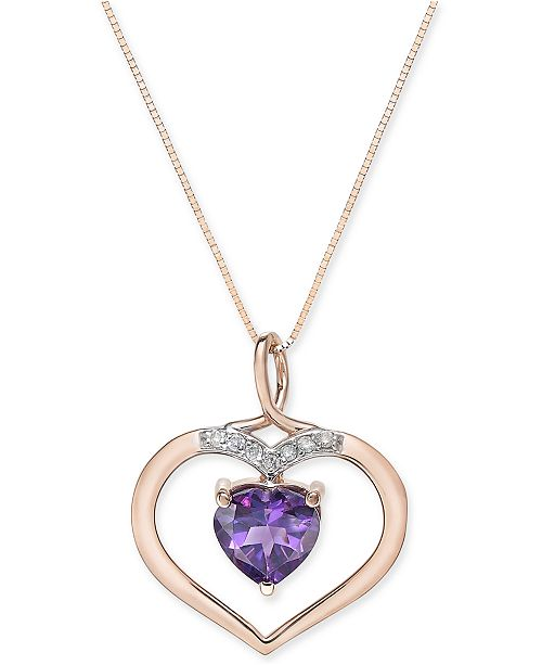 Macy's Amethyst (1-3/4 ct. t.w.) and Diamond Accent Pendant Necklace in 14k Rose Gold