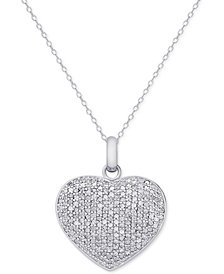 Diamond Pavé Heart Locket Pendant Necklace (2 ct. t.w.) in Sterling Silver