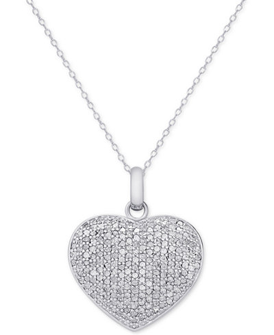 Diamond pav heart locket pendant necklace 2 ct tw in diamond pav heart locket pendant necklace 2 ct tw in sterling silver aloadofball Images