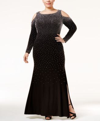 Xscape Plus Size Beaded Cold-Shoulder Slit Gown
