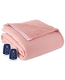 Shavel Reversible Micro Flannel® to Sherpa Twin Heated Blanket