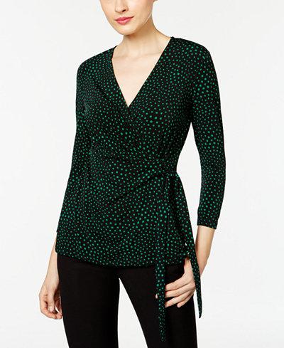 Anne Klein Knit Printed Faux Wrap Top Tops Women Macy S