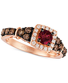 Le Vian Chocolatier® Raspberry Rhodolite® Garnet (3/8 ct. t.w.) and Diamond (5/8 ct. t.w.) Ring in 14k Rose Gold