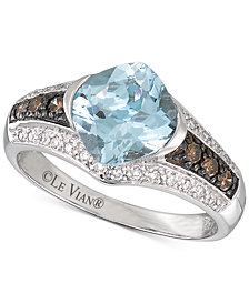 Le Vian® Chocolatier Aquamarine (1-3/8 ct. t.w.) and Diamond (1/4 ct. t.w.) Ring in 14k White Gold