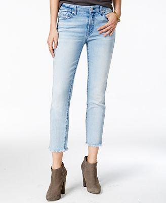7 For All Mankind Frayed-Hem Straight-Leg Jeans - Jeans - Women ...