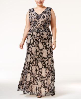 Betsy & Adam Plus Size Floral Lace A-Line Gown