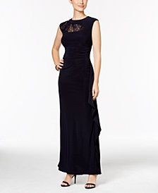R & M Richards Sequined Lace-Trim Ruched Gown