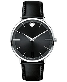 Men's Swiss Ultra Slim Black Leather Strap Watch 40mm 0607086
