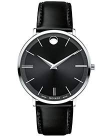 Movado Men's Swiss Ultra Slim Black Leather Strap Watch 40mm 0607086