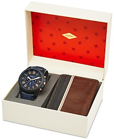 fossil fossil macy s fossil men s chronograph grant blue leather strap watch leather card wallet box set 44mm fs5252set