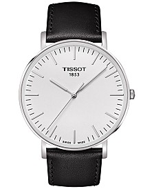 Tissot Men's Swiss T-Classic Black Leather Strap Watch 42mm T1096101603100