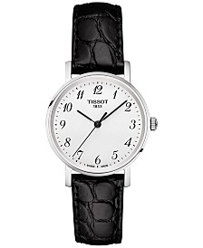 Tissot Women's Swiss Everytime Black Leather Strap Watch 30mm T1092101603200