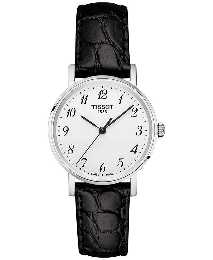 Tissot - Women's Swiss Everytime Black Leather Strap Watch 30mm T1092101603200