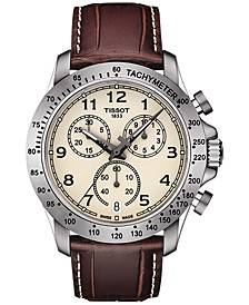 Men's Swiss Chronograph V8 Brown Leather Strap Watch 42mm T1064171626200