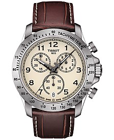 Tissot Men's Swiss Chronograph V8 Brown Leather Strap Watch 42mm T1064171626200