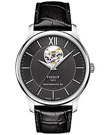 Men's Swiss Automatic Tradition Powermatic 80 Open Heart Black Leather Strap Watch 40mm T0639071605800