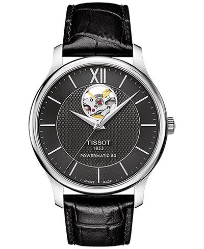 Tissot Men's Swiss Automatic Tradition Powermatic 80 Open Heart Black Leather Strap Watch 40mm T0639071605800