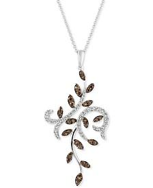 Le Vian® Chocolatier Diamond Vine Pendant Necklace (9/10 ct. t.w.) in 14k White Gold