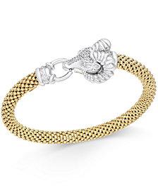 Diamond Pavé Ram Bangle Bracelet (1/5 ct. t.w.) in 14k Gold-Plated Sterling Silver