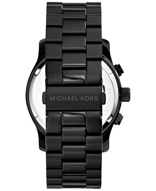 ce93ef3aaa74 ... Michael Kors Men s Runway Black Ion Plated Stainless Steel Bracelet  Watch 45mm MK8157 ...