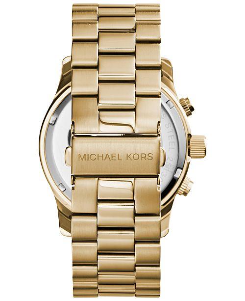 dd793d55ebff ... Michael Kors Men s Chronograph Runway Gold-Tone Stainless Steel  Bracelet Watch 44mm MK8077 ...