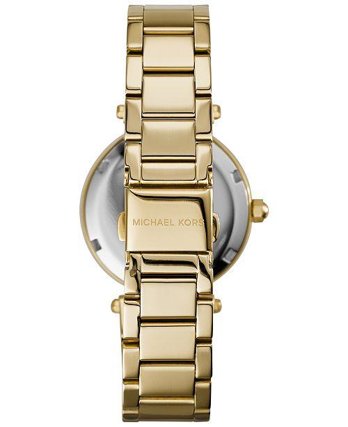 1b1b3cc92567 ... Michael Kors Women s Chronograph Mini Parker Gold-Tone Stainless Steel  Bracelet Watch 33mm MK6056 ...