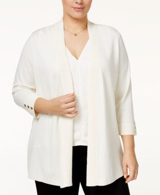 Charter Club Plus Size Open-Front Cardigan, Only at Macy's