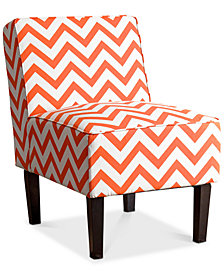 Kelden Chevron Slipper Chair, Quick Ship
