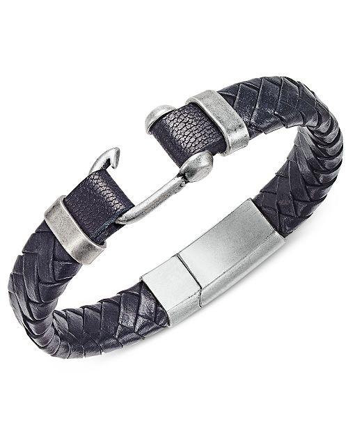 Steve Madden Stainless Steel Leather Braided Bracelet