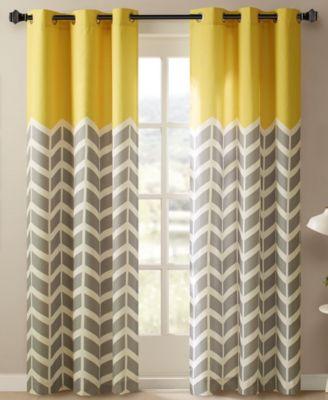 "Alex 42"" x 63"" Colorblocked Chevron-Print Room Darkening Grommet Pair of Window Panels"