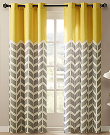 "Intelligent Design Alex 42"" x 84"" Colorblocked Chevron-Print Pair of Room Darkening Grommet Window Panels"