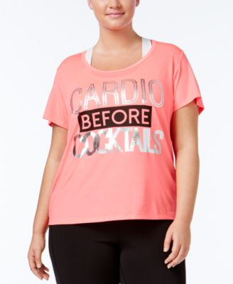 Material Girl Active Plus Size Metallic T-Shirt, Only at Macy's