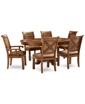 Mandara Round Expandable Furniture, 7-Pc. Set (Round Dining Trestle Table, 4 Side Chairs & 2 Arm Chairs)