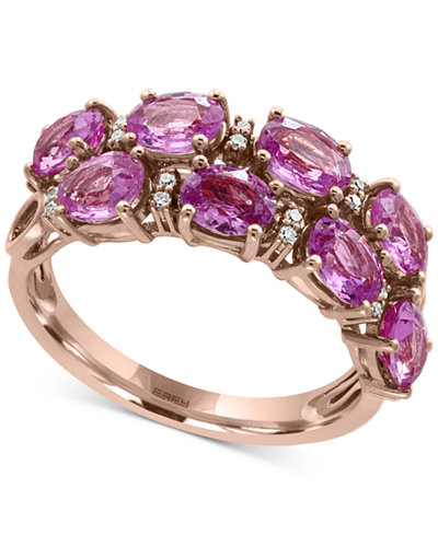 EFFY® Pink Sapphire (3-7/8 ct. t.w.) and Diamond Accent Ring in 14k Rose Gold, Created for Macy's