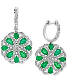 EFFY® Brasilica Emerald (2-7/8 ct. t.w.) and Diamond (7/8 ct. t.w.) Drop Earrings in 14k White Gold, Created for Macy's