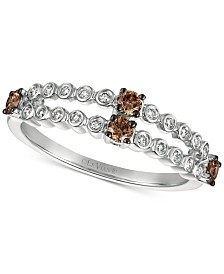 Le Vian Chocolatier® Diamond Two-Row Ring (3/8 ct. t.w.) in 14k White Gold