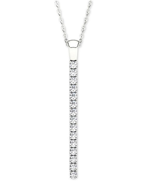 Line of love diamond pendant necklace 12 ct tw in 14k white main image mozeypictures Image collections