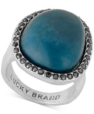Lucky brand silver tone pav blue stone statement ring for Macy s lucky brand jewelry