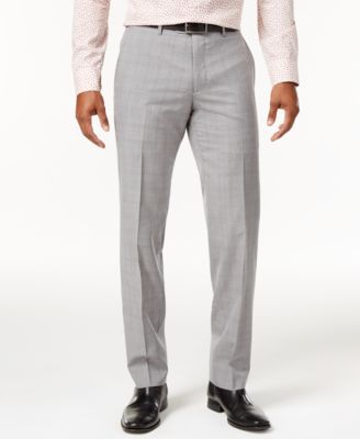 Men's Slim-Fit Light Gray Plaid Suit Pants, Created for Macy's