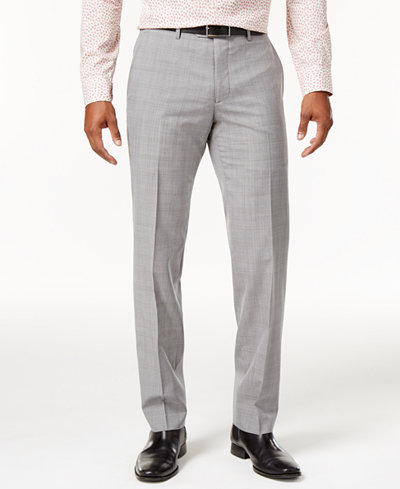 Bar III Men's Slim-Fit Light Gray Plaid Suit Pants, Created for Macy's