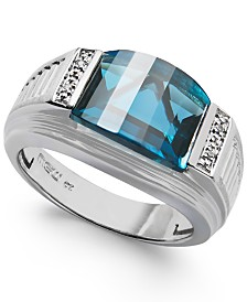 Men's London Blue Topaz (6-1/2 ct. tw.) and Diamond Accent Ring in Sterling Silver
