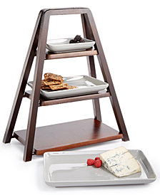 CLOSEOUT! Hotel Collection 3-Tier Wood Server with Porcelain Plates, Created for Macy's