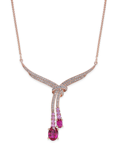 Certified Ruby (1-3/4 ct. t.w.), Pink Sapphire(1/5 ct. t.w.) & Diamond (1/3 ct. t.w.) Lariat Necklace in 14k Rose Gold