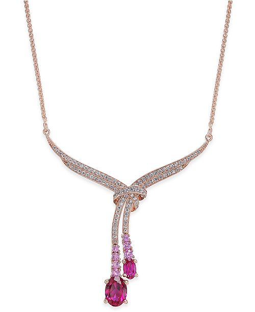 Macy's Certified Ruby (1-3/4 ct. t.w.), Pink Sapphire(1/5 ct. t.w.) & Diamond (1/3 ct. t.w.) Lariat Necklace in 14k Rose Gold