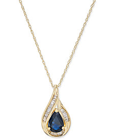 Sapphire (7/8 ct. t.w.) and Diamond (1/10 ct. t.w.) Pendant Necklace in 14k Gold