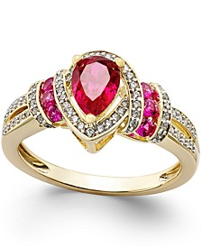 Certified Ruby (1 ct. t.w.) and Diamond (1/4 ct. t.w.) Ring in 14k Yellow Gold (Also Available in Emerald)