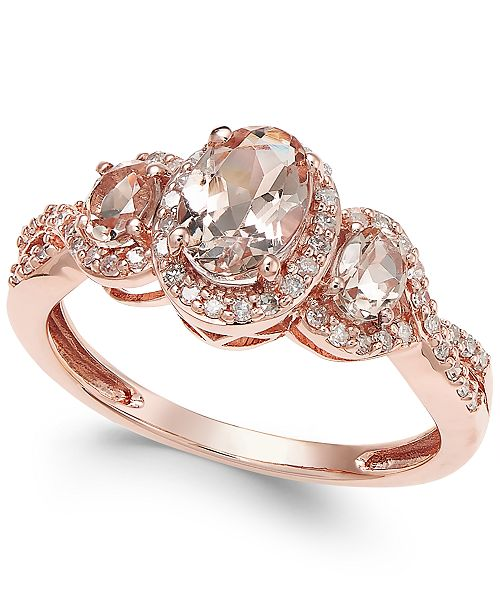 Macy's Morganite (3/4 ct. t.w.) and Diamond (1/4 ct. t.w.) Ring in 14k Rose Gold (Size 7 only)